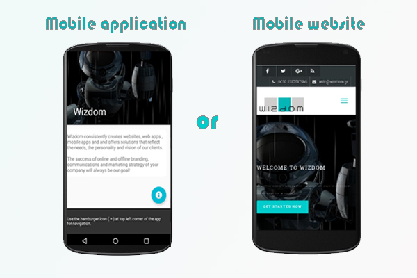 mobile application or mobile website